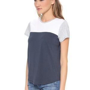 Vince Blue, White + Gray Colorblock Tee